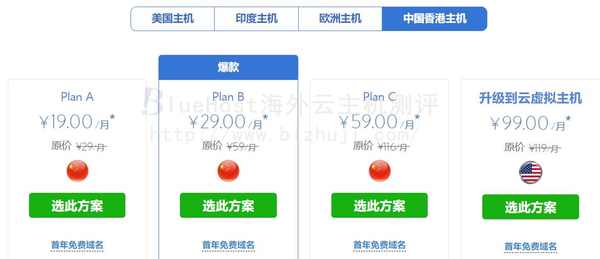 BlueHost香港主机价格