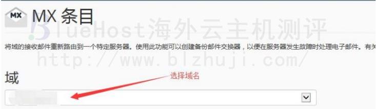 进入界面之后在域中选择自己需要增加的MX记录的域名,当中的电子邮箱路由项目,无需更改选择默认的就可以了