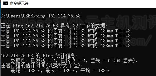 Bluehost美国站群服务器Ping结果
