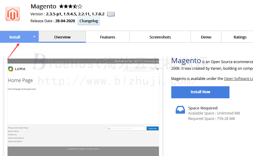一键安装Magento