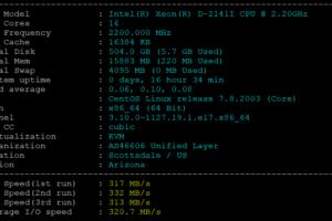 BlueHost美国服务器DS1-SSD方案基本性能测试结果