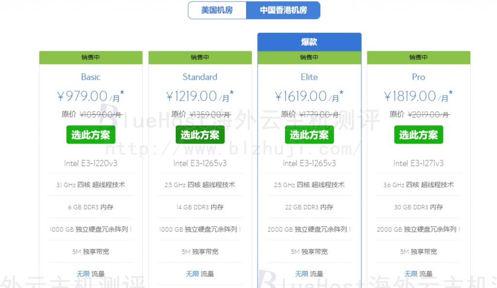 BlueHost香港站群服务器介绍