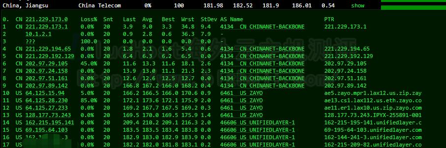 BlueHost美国CN2服务器的电信路由跟踪测试