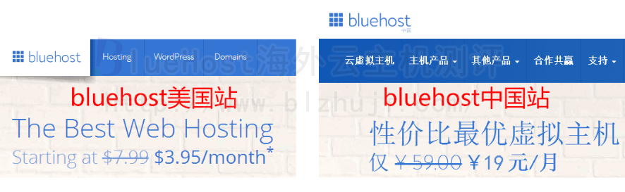 BlueHost中国站与BlueHost美国站主机价格比较