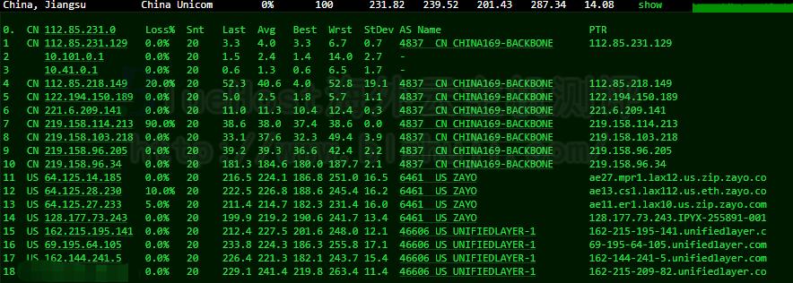 BlueHost美国CN2服务器的联通路由跟踪测试