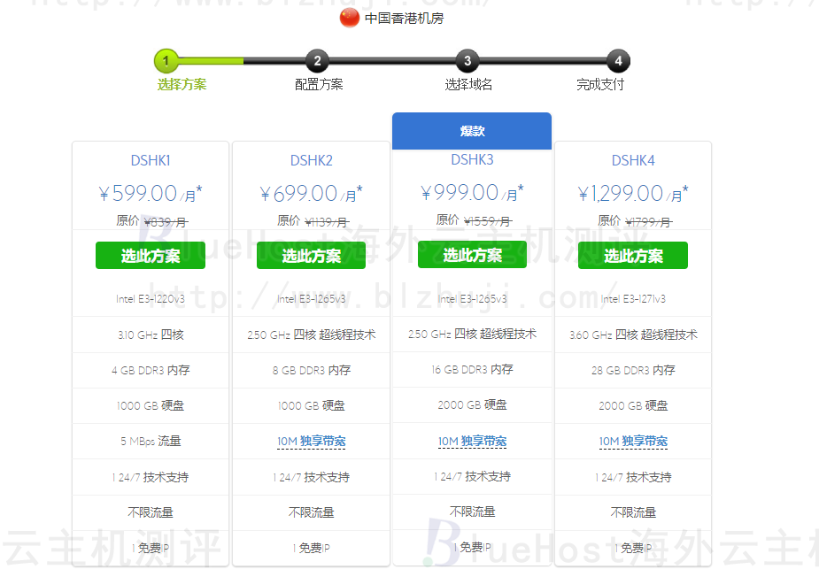 BlueHost香港服务器租用方案推荐(windows系统)